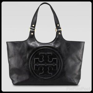 Genuine Black Luxe Leather Tory Burch Bombe Tote
